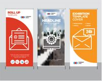 Mail 24 hours, Laptop, on mail roll up. Mail 24 hours modern business roll up banner design template, Laptop creative poster stand or brochure concept, on mail Stock Photo