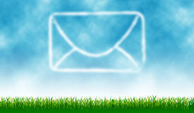 Mail icon. With outdoor cloud - background royalty free illustration