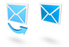 Mail icon. Illustration of email icon. 3D mail and arrow icons Royalty Free Stock Image