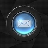 Mail icon. Blue icon with white envelope over rays background stock illustration
