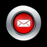 Mail icon. Red mail icon with metal border over black background vector illustration