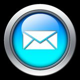 Mail icon. Blue mail icon with metal border over black background vector illustration