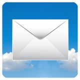 Mail icon. With clouds for smart phone or personal computer royalty free illustration