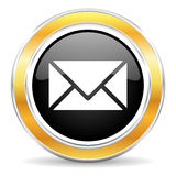 Mail icon. Black web button with golden ring mail icon royalty free illustration