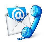 Mail icon and blue phone Royalty Free Stock Photography