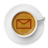Mail icon on coffee Stock Images