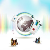 Mail icon with Earth Royalty Free Stock Photo