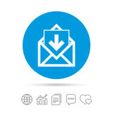 Mail icon. Envelope symbol. Inbox message sign. Mail navigation button. Copy files, chat speech bubble and chart web icons. Vector Stock Image