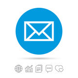 Mail icon. Envelope symbol. Message sign. Mail navigation button. Copy files, chat speech bubble and chart web icons. Vector Stock Photography