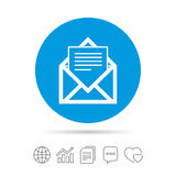 Mail icon. Envelope symbol. Message sign. Mail navigation button. Copy files, chat speech bubble and chart web icons. Vector Royalty Free Stock Photos