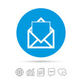 Mail icon. Envelope symbol. Message sign. Mail navigation button. Copy files, chat speech bubble and chart web icons. Vector Stock Images
