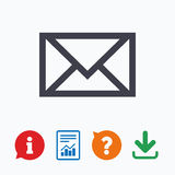 Mail icon. Envelope symbol. Message sign Royalty Free Stock Images