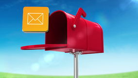 Mail icon in the mailbox on blue sky background. Digital animation of mail icon in the mailbox on blue sky background