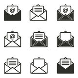 Mail icon set. Mail vector icons set. Black illustration isolated on white background for graphic and web design Vector Illustration