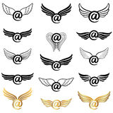 Mail icon set with wings Stock Image