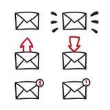 Mail icon, symbol, illustration black lines on white Stock Photo