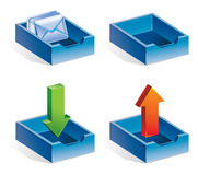 Mail icons. Vector illustration - receive mail, send mail, received letters, empty container Stock Image