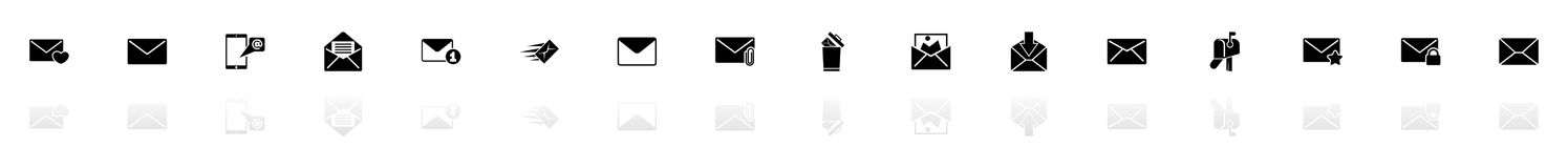 Mail - Flat Vector Icons. Mail icons - Black horizontal Illustration symbol on White Background with a mirror Shadow reflection. Flat Vector Icon Royalty Free Stock Photos