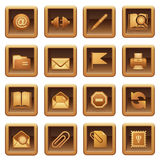 Mail icons. Brown series. Stock Photo
