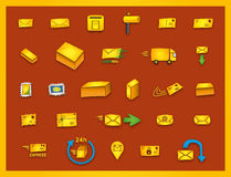 27 mail icons - Hand drawn coloured vector graphics. Hand drawn mailing icons, e.g. for transport business and modern design Stock Image