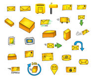 27 mail icons - Hand drawn vector graphics. Several hand drawn vector icons for e.g. the transport business and modern design Royalty Free Stock Photo