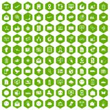 100 mail icons hexagon green. 100 mail icons set in green hexagon isolated vector illustration Royalty Free Stock Images