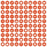 100 mail icons hexagon orange Royalty Free Stock Photography