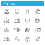 Mail icons line set. Mail, Post and Post office icons line set Royalty Free Stock Photos