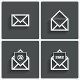 Mail icons. Mail sms symbol. At sign. Letter. Stock Photos