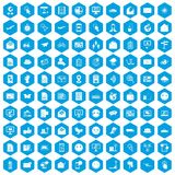 100 mail icons set blue. 100 mail icons set in blue hexagon isolated vector illustration Stock Images