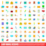 100 mail icons set, cartoon style Royalty Free Stock Images