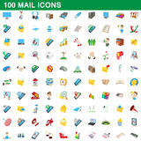 100 mail icons set, cartoon style. 100 mail icons set in cartoon style for any design vector illustration Stock Photography