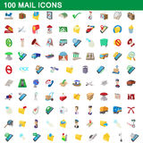 100 mail icons set, cartoon style Royalty Free Stock Photos