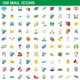 100 mail icons set, cartoon style. 100 mail icons set in cartoon style for any design illustration stock illustration