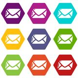Mail icons set 9 vector. Mail icons 9 set coloful isolated on white for web Stock Photography