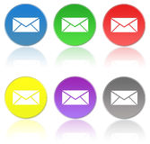 Mail icons. A set of colorful round mail icons with letter symbols Royalty Free Stock Photo