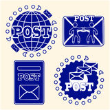 Mail icons set. The concept of delivery of letters and post attributes. Stock Images