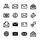 Mail icons, set of 16 e-mail symbols Royalty Free Stock Images