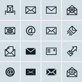 Mail icons, set of 16 e-mail symbols Royalty Free Stock Image