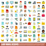 100 mail icons set, flat style. 100 mail icons set in flat style for any design vector illustration Royalty Free Stock Images
