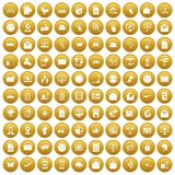 100 mail icons set gold. 100 mail icons set in gold circle isolated on white vector illustration Royalty Free Stock Photos