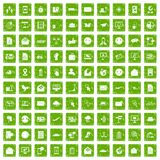 100 mail icons set grunge green. 100 mail icons set in grunge style green color isolated on white background vector illustration Royalty Free Stock Photo