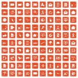 100 mail icons set grunge orange. 100 mail icons set in grunge style orange color isolated on white background vector illustration royalty free illustration
