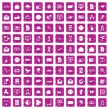 100 mail icons set grunge pink. 100 mail icons set in grunge style pink color isolated on white background vector illustration Royalty Free Stock Photos