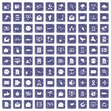 100 mail icons set grunge sapphire. 100 mail icons set in grunge style sapphire color isolated on white background vector illustration royalty free illustration