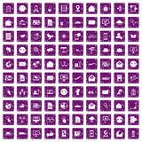 100 mail icons set grunge purple. 100 mail icons set in grunge style purple color isolated on white background vector illustration stock illustration