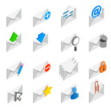 Mail icons set, isometric 3d style Stock Photos