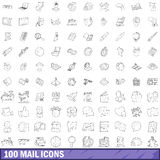 100 mail icons set, outline style. 100 mail icons set in outline style for any design vector illustration Vector Illustration