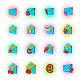 Mail icons set, pop-art style Royalty Free Stock Image