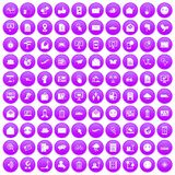 100 mail icons set purple. 100 mail icons set in purple circle isolated on white vector illustration Royalty Free Stock Photos